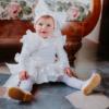 fascia fiocco bianca in raso da bambina