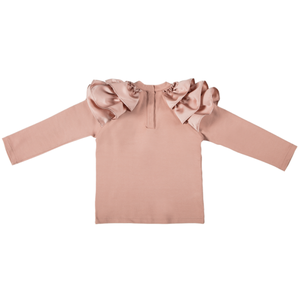 maglia ruches rosa a manica lunga di cotone caldo da bambina