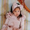 maglia in caldo cotone rosa cipria da bambina e fascia fiocco