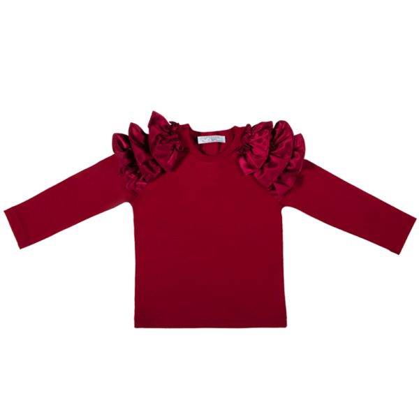 maglia manica lunga da bambina rossa