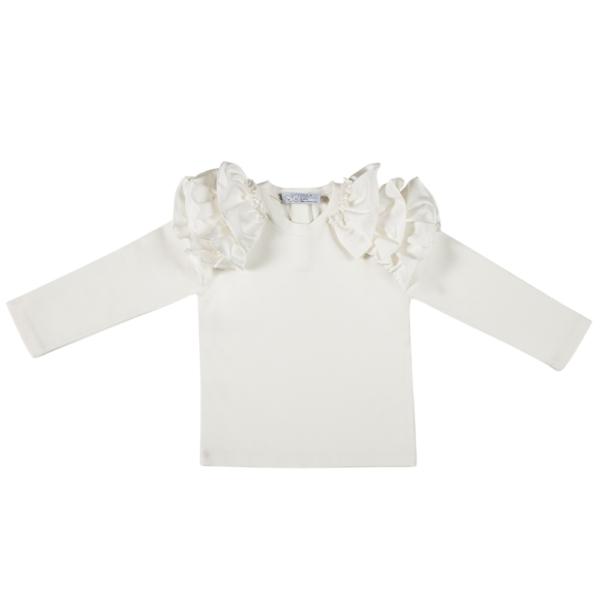 maglia bianca in cotone invernale da bambina fino a 5 anni