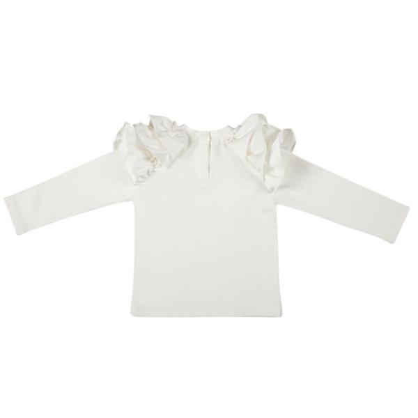 maglia bianca con balze sulle maniche da bambina