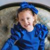 fascia con fiocco in cotone e raso da bambina