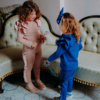 maglia e pantalone in cotone caldo da bambina