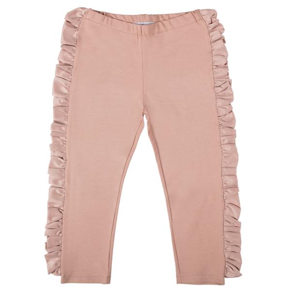 pantalone cipria in cotone con balza laterale