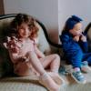 completino maglia e pantalone da bambina rosa