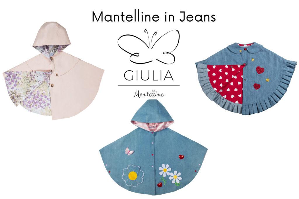 mantellina in jeans per bambine firmata Giulia Mnatelline
