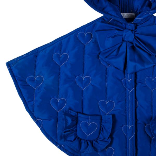 dettaglio fiocco mantellina invernale da bambina blu