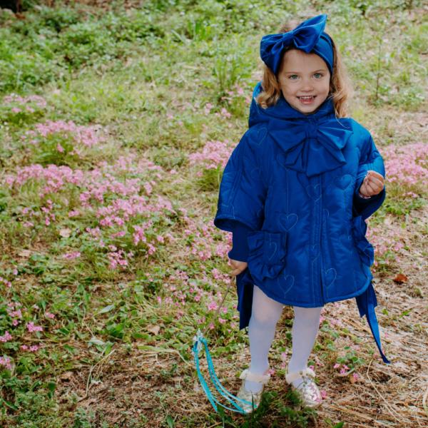 cappotto piumino mantellina bluette da bambina fino a 5 anni