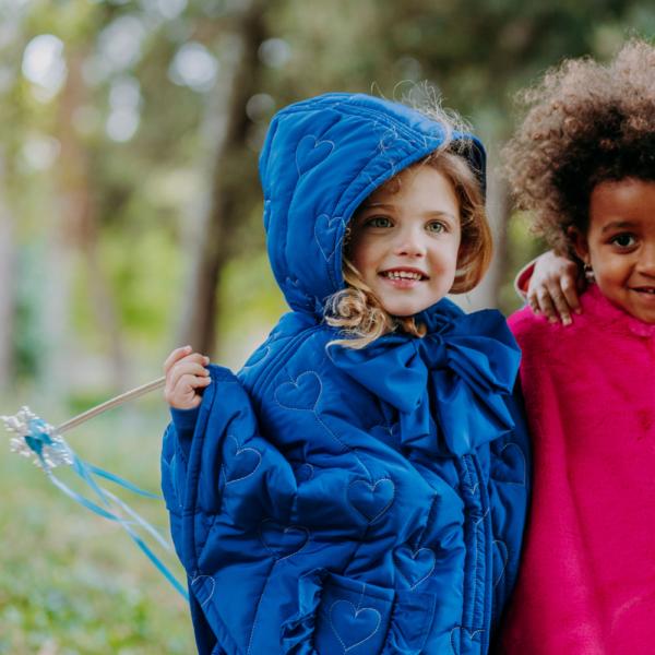 mantellina piumino invernale da bambina fata turchina